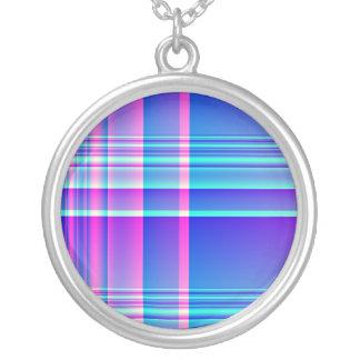 Tela escocesa rosada y azul a cuadros colgante redondo