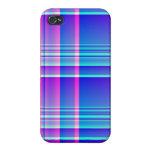 Tela escocesa rosada y azul iPhone 4 carcasa