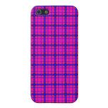 Tela escocesa rosada y azul iPhone 5 funda