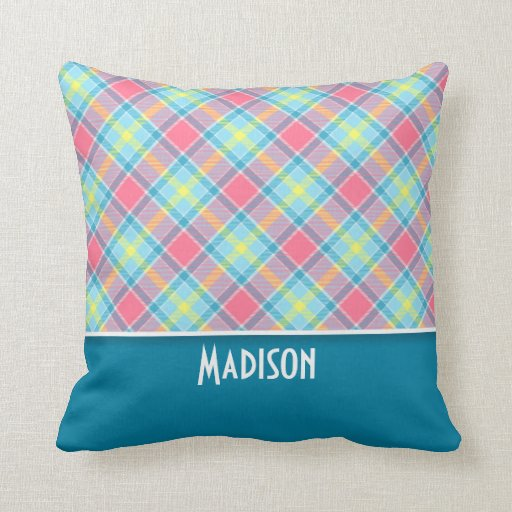 Tela escocesa rosada y azul linda almohadas