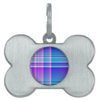 Tela escocesa rosada y azul placas de mascota