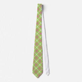 Tela escocesa rosada y verde corbatas personalizadas