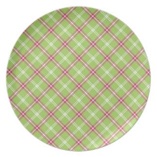 Tela escocesa rosada y verde plato