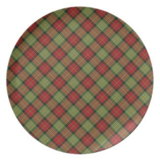 Tela escocesa rústica del navidad platos