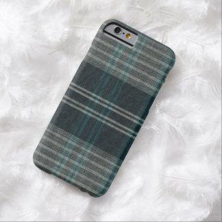 Tela escocesa tejida azul del invierno del vintage funda para iPhone 6 barely there