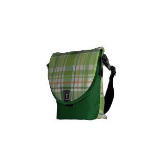 Tela escocesa verde bolsa de mensajeria