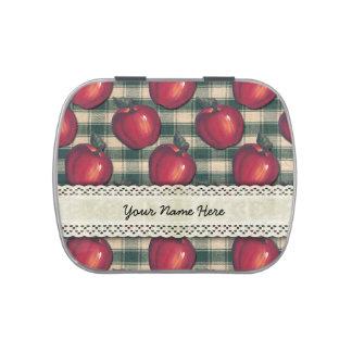 Tela escocesa verde de las manzanas rojas frascos de dulces