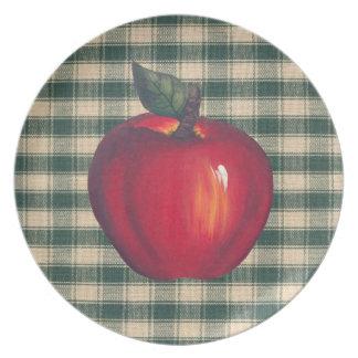 Tela escocesa verde de las manzanas rojas plato para fiesta