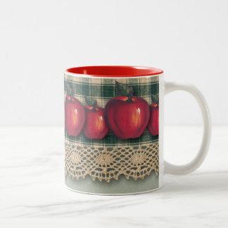 Tela escocesa verde de las manzanas rojas taza dos tonos