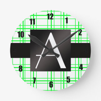 Tela escocesa verde de neón del monograma relojes