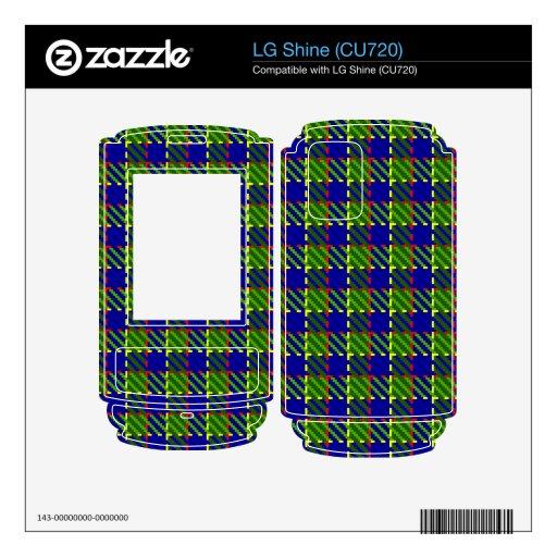 Tela escocesa verde del cercado calcomanías para el LG shine