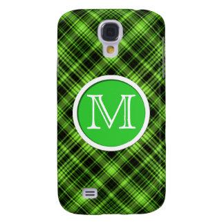 Tela escocesa verde del monograma
