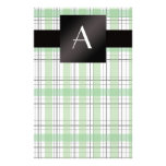 Tela escocesa verde del monograma papeleria personalizada