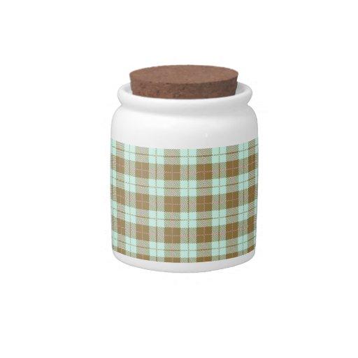 Tela escocesa verde jarra para caramelo