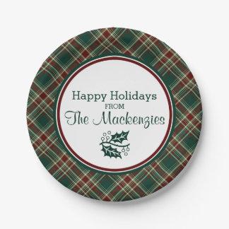 Tela escocesa verde oscuro del navidad platos de papel