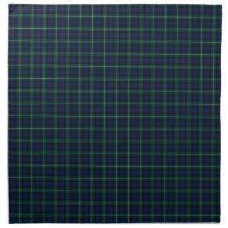 Tela escocesa verde oscuro y azul del tartán de la servilleta de papel
