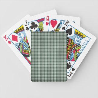 Tela escocesa verde oscuro y blanca barajas de cartas