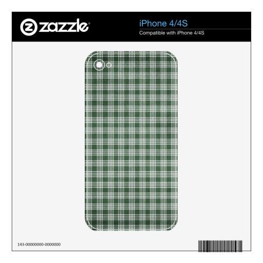 Tela escocesa verde oscuro y blanca skins para eliPhone 4S