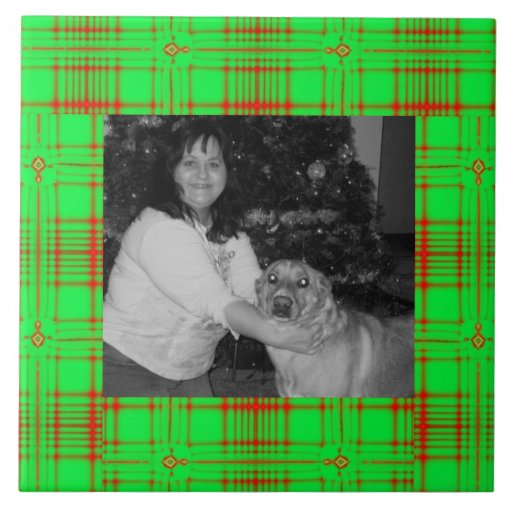 Tela escocesa verde roja Photoframe del navidad Teja