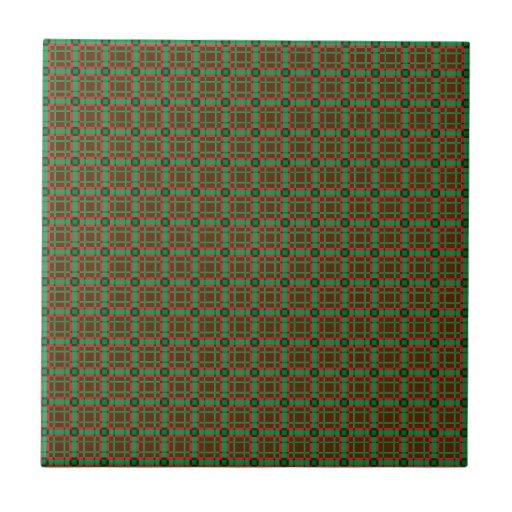 Tela escocesa verde, roja, y de Brown Azulejo Cuadrado Pequeño