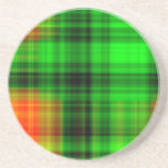 Tela escocesa verde y anaranjada posavasos manualidades