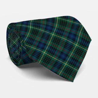 Tela escocesa verde y azul del tartán de la caza corbata