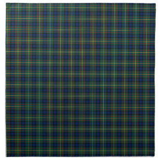 Tela escocesa verde y azul del tartán del clan de servilleta de papel