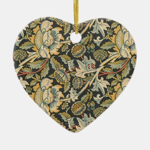 Tela floral del oro azul adorno navideño de cerámica en forma de corazón