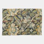 Tela floral del oro azul toallas de mano