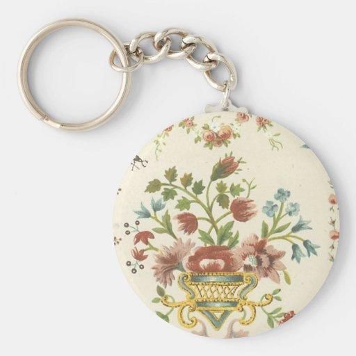 Tela floral del vintage (177) llavero redondo tipo pin
