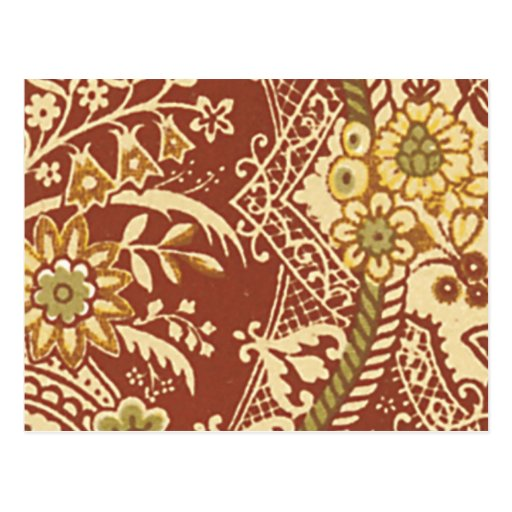 Tela floral del vintage (197) tarjeta postal