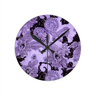 Tela floral púrpura del vintage reloj redondo mediano