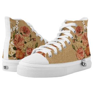 Tela floral zapatillas