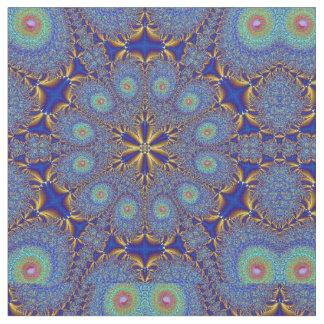 Tela geométrica del oro del azul de pavo real