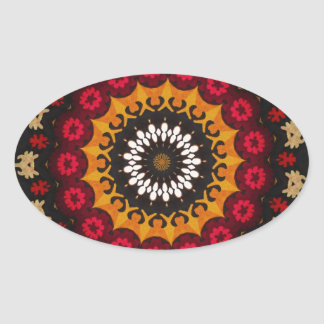 Tela geométrica islámica de los adornos del modelo calcomanías ovaladas personalizadas