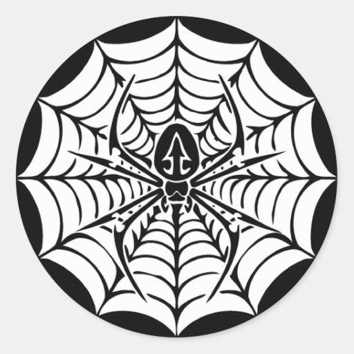 Tela grande con la araña pegatina redonda
