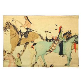 Tela india americana primitiva del dibujo del arte mantel