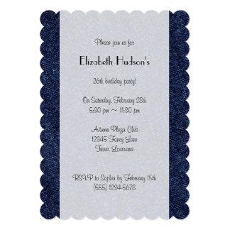 "Tela lavada del dril de algodón (materia textil) invitación 5"" x 7"""