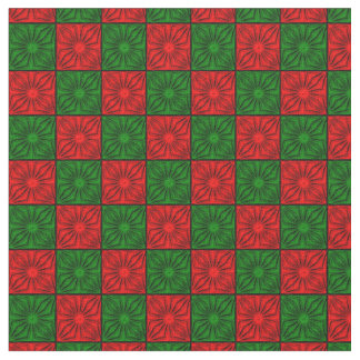 Tela plisada de las esquinas, roja y Verde-Zazzle Telas
