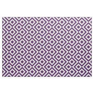 Tela púrpura y blanca geométrica del meandro telas