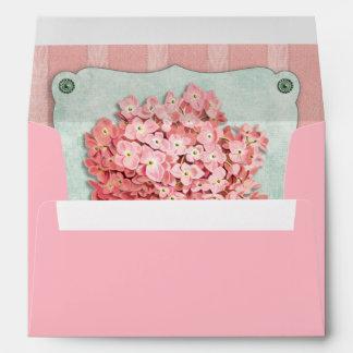 Tela rayada del Hydrangea del verde del papel rosa Sobres