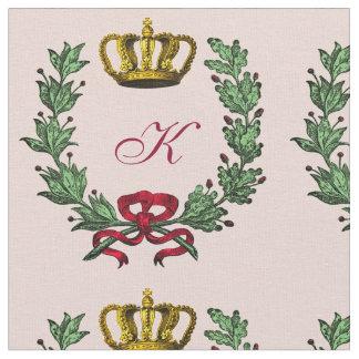 Tela real del monograma para las princesas y el telas