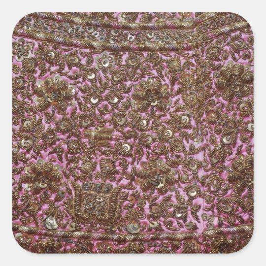 Tela rosada bordada Nueva Deli la India Pegatina Cuadrada