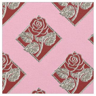 Tela rosada de la Plata-Zazzle de los diamantes Telas