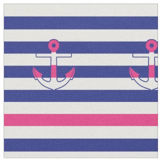 Tela rosada y azul del ancla y de las rayas telas