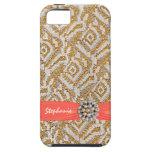 Tela tejida oro con la cinta y el diamante artific iPhone 5 cárcasa