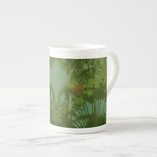 Tela tropical del falso vintage taza de porcelana