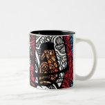 Tela y brochas tazas de café