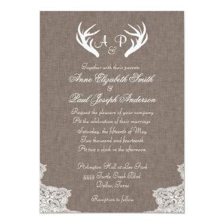 Tela y cordón rústicos de la invitación del boda invitación 12,7 x 17,8 cm