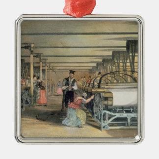 Telar de poder que teje, 1834 adorno navideño cuadrado de metal